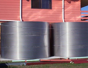 Two Stainless Steel Round Water Tanks